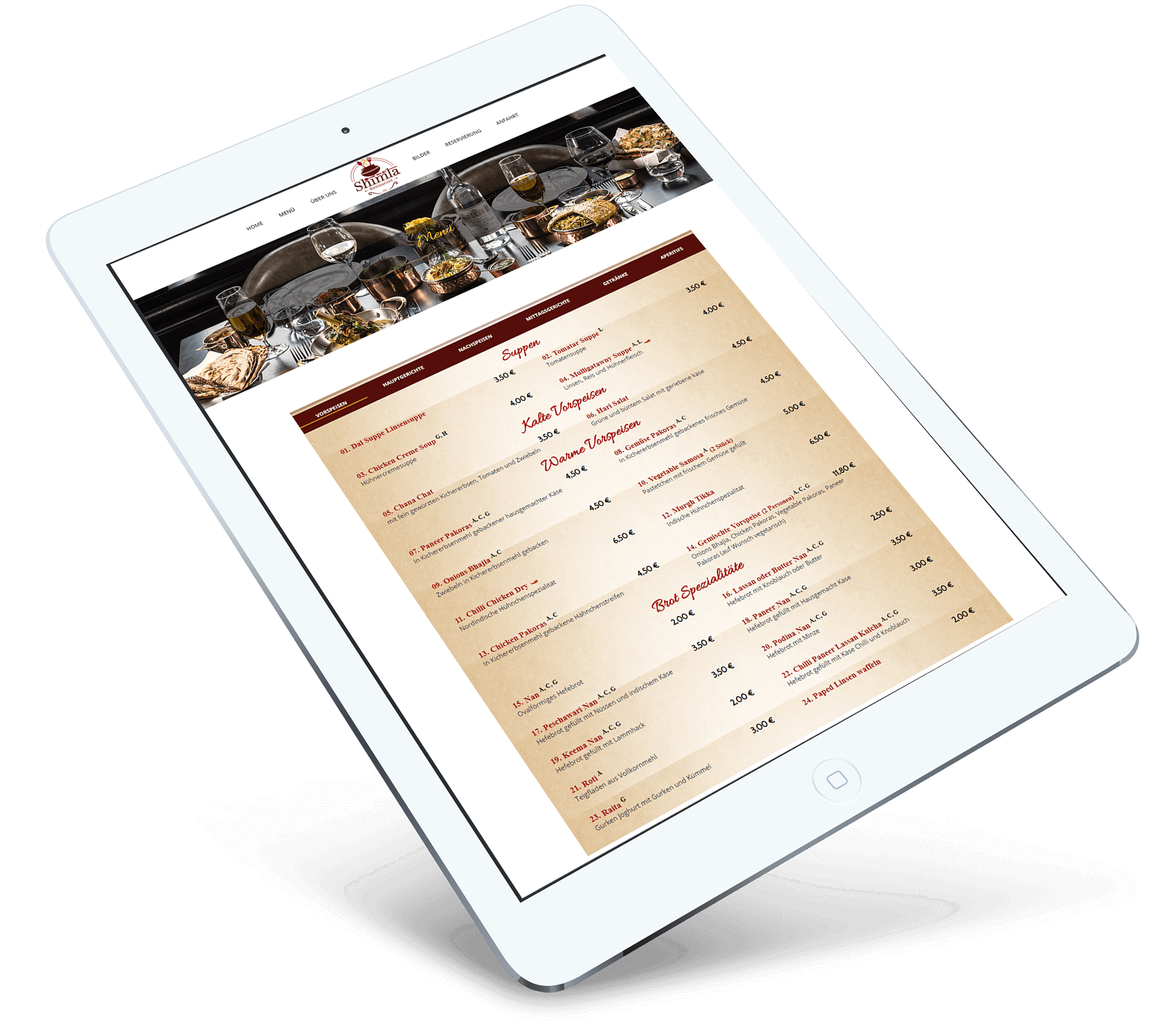 Brandcrock-Shimla restaurant menu ipad
